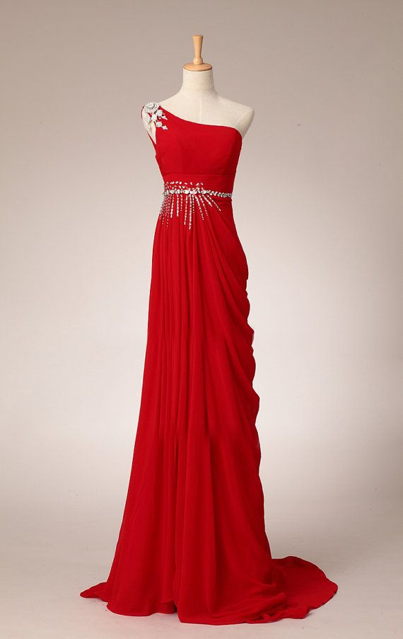 Pretty Elegant Red One-Shoulder Long Prom Dress With Beadings ...